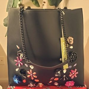 GIANI BINI black tote with jewels